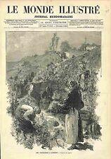 ANNAM HUÉ / Prise de Battle of Thuan An Forts Vietnam GRAVURE OLD PRINT 1883