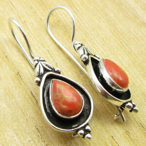 """Orange Copper Turquoise NEW Earrings 1.5"""" Silver Plated Jewellery ONLINE STORE"""