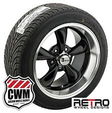 "17x7""/17x9"" Retro Staggered Black Wheels Rims Tires for Dodge Charger 66-78"