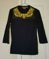 Tory Burch Blue Cotton Yellow Embroidered Bead Collar Long Sleeve Top-Size XS