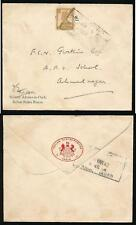 INDIA WW2 1942 STATES FORCES EMBOSSED FLAP + PRINTED MILITARY ADVISER in CHIEF