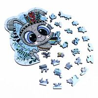 """Wooden Jigsaw Puzzle """"Funny Bunny"""". Whimsy details. NEW!"""