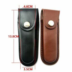 1 Pcs Luxury 100% Genuine Leather Pouch Folding Pocket Knife Hunting Belt Sheath