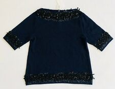 Women's JCREW Navy 100% Cashmere Cowl Neck Sweater with Black Beading