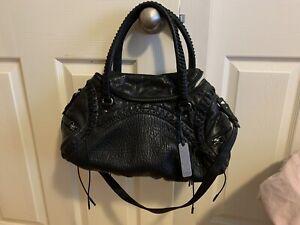 Botkier Bijoux Black Lambskin Leather Crossbody Shoulder Bag Purse EUC