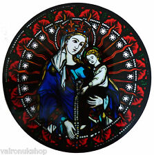 STAINED GLASS WINDOW ART - STATIC CLING  DECORATION - MADONNA FROM ARUNDEL