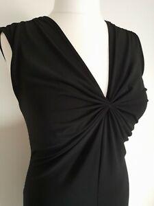 STEILMANN black dress size 14 sleeveless ruched v neck knee length 40s  party