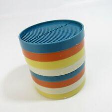 Vintage Set 8 Mid Century Plastic Coasters Stackable Colors Blue Yellow Orange