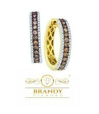 Brandy Diamond® Chocolate Brown 14K Yellow Gold Exquisite Hoop Earrings 1.00 Ct
