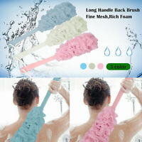 New Long Handled Plastic Body Bath Shower Back Brush Scrubber Cleaning Massager