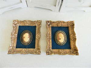 Set/2 Vintage 1950's Framed Cameo Medallion French Lady Wall Pictures