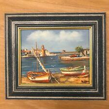 Peinture huile Tableau ❤️ Port plage mer bateaux voile - Oil painting sea Harbor