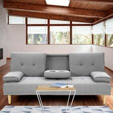 Rochester Linen Fabric Sofa Bed Lounge Couch - Light Grey