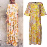 S-5XL Women Plus Size Floral Batwing Sleeve Vintage Party Shirt Dress Long Dress