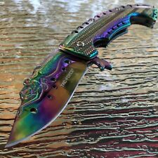 "8.75"" TAC FORCE SPRING ASSISTED TACTICAL MERMAID RAINBOW FOLDING POCKET KNIFE"