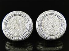 10K Yellow Gold Fn  Mens Ladies Diamond Round Shape Stud Pave Earrings 0.15 Ct
