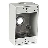 Red Dot  4-9/16 in. Rectangle  Die-Cast Aluminum  1 gang Weatherproof Box  White