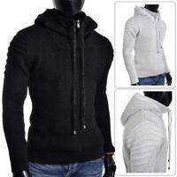 Men's Hoodie Zip Neck Jumper Wool Blend Long Sleeve Sweater Striped Ribbed Arms
