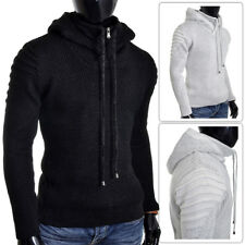 Men's Hoodie Zip Neck Jumper Wool Blend Long Sleeve Sweater Striped Ribbed Arms