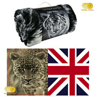 3D FAUX FUR THROW ANIMAL PRINT BLANKET DOUBLE SIZE FOR SOFA BED TV 150 x 200cm