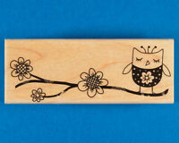Flower Branch with Owl Rubber Stamp by Hero Arts - Decorative Bird