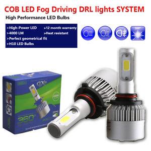 2x White LED Fog Light Bulbs H10 9005 HB3 COB 16000LM Fit Cadillac DTS SRX CTS