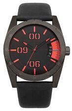 French Connection FC1169BB Black Dial Black Leather Strap Men's Quartz Watch
