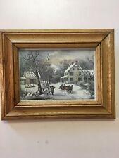 Vintage FRramed 1970's Currier and Ives American Homestead Winter Print Artwork