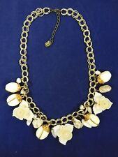 Vintage Yousi Statement Necklace Gold Tone Flowers Stones Beads Pearls Adjusts