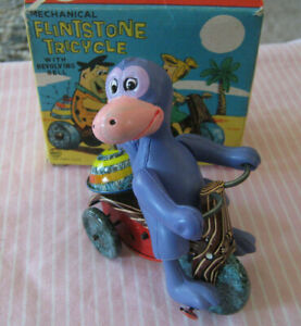 1962 FLINTSTONE'S DINO TRICYCLE Wind Up Toy IN BOX Marx Flintstones Trike RARE