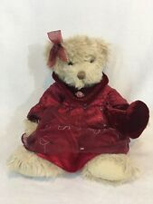 Sweetheart Russ Berrie annalise Teddy Bear doll 12'' Red Dress Red Heart B