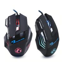 Ergonomic Wired Gaming Mouse 7 Button LED 5500 DPI USB (Black)
