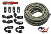 20FT AN4 Stainless Steel Braided Fuel Line 10 Fittings Hose End Kit Swivel Black