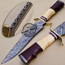 Custom Handmade Damasco Bowie Cuchillo De Caza De Acero Damasco 1062
