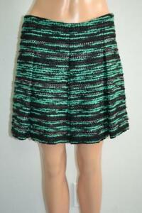 Proenza Schouler Black/Green/Metallic Wool Boucle Pleated Skirt, Sz 8