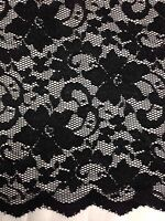 "New Fashion  Black Stretch Floral Lace Fabric Double Scalp Border 59"" 150 Cm"