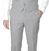 $135 Alfani RED Gray 100% Wool Slim Fit Flat Front Dress Pants Pre-Hemmed