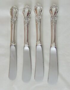 """FOUR VINTAGE (1950) """"BROCADE"""" STERLING SILVER BUTTER SPREADERS BY INTERNATIONAL!"""