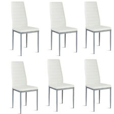 Set of 6 Dining Room White Chairs Kitchen Modern PU Elegant Leather Design