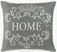 Home 18 inch / 45 cm Chenille Cushion Cover Grey & Cream Vintage Style