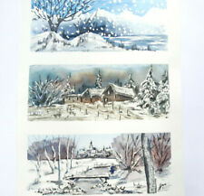 Winter Under The Snow Landscapes IN Trio Watercolour And Gouache Signed Witz
