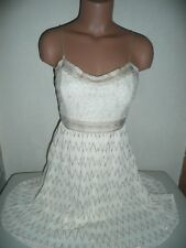 NEW FLYING TOMATO IVORY & GOLD VINTAGE LACE FIT & FLARE SKATER COCKTAIL DRESS L