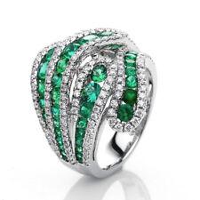 Fashion Emerald 925 Silver Women Jewelry Wedding Engagement Ring Sz 9
