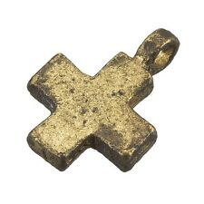 Antique Gold Iron Plain Cross Charm Pendant With Loop 18mm - Pack of 1 (C93/2)