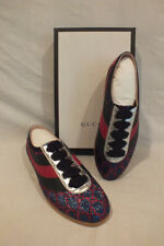 NIB AUTH GUCCI women GG Lame Glitter Bee SNEAKERS shoes Lace up IT 40.5 10.5 US