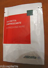 ALITALIA salvietta rinfrescante sigillata nuova refreshing wipe white red green