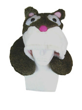 Travel Neck Pillow with drawstring Hoodie Animal plush  w luggage hook novelty