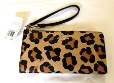 AUTHENTIC COACH OCELOT ANIMAL PRINT LEATHER WRISTLET PURSE NEW W/TAGS  52938