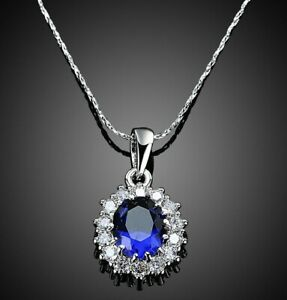 """5 CT Blue Sapphire Gemstone Pendant Necklace in 18K White Gold 18"""" Inches ITAL"""