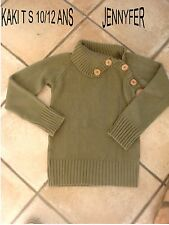 PULL FILLE KAKI JENNYFER BOUTONS BEIGE AU COL T 10/12ANS IMPECCABLE